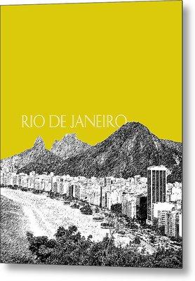 Rio De Janeiro Skyline Copacabana Beach - Mustard  Metal Print by DB Artist
