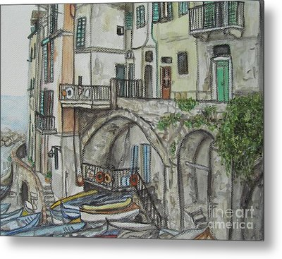 Riomaggoire Cinque Terre Italy Metal Print by Malinda  Prudhomme