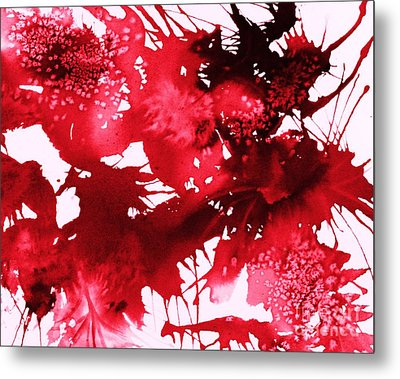 Riot Of Red Abstract Metal Print by Ellen Levinson