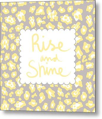 Rise And Shine- Yellow And Grey Metal Print by Linda Woods