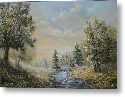Rising Mist In The Berkshires In Ma Metal Print by  Luczay