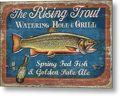 Rising Trout Sign Metal Print by JQ Licensing