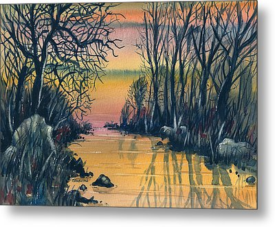 Metal Print featuring the painting River At Sunset by Terry Banderas