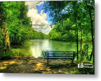 River Bench Metal Print