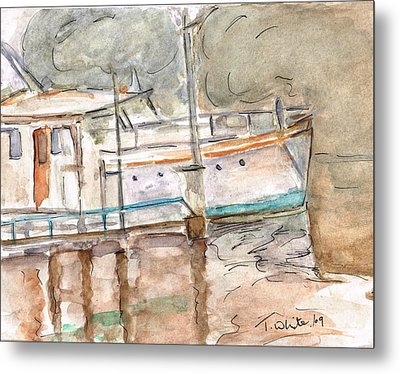 Metal Print featuring the painting River Boat  by Teresa White