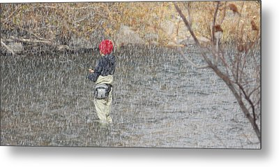 River Fishing In The Snow Metal Print by Brent Dolliver