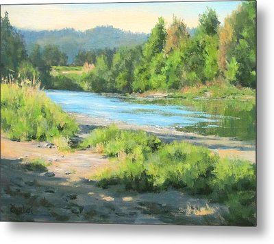 River Forks Morning Metal Print by Karen Ilari