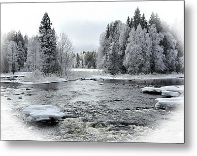 River In Winter. Textured Metal Print by Conny Sjostrom