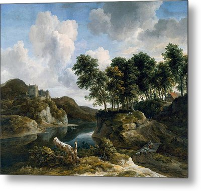 River Landscape With A Castle On A High Cliff Metal Print by Jacob van Ruisdael
