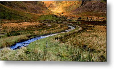 River Near Annascaul Lake In Kerry Metal Print by Barbara Walsh