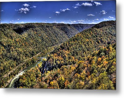River Running Through A Valley Metal Print