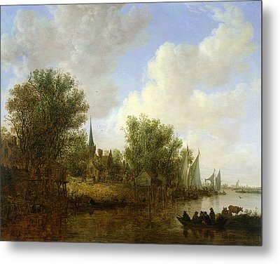 River Scene With A View Of Overschie, 1651 Oil On Canvas Metal Print by Jan Josephsz. van Goyen