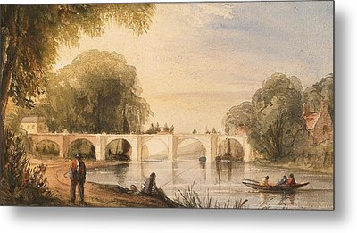 River Scene With Bridge Of Six Arches Metal Print by Robert Hindmarsh Grundy
