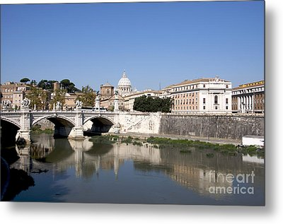 River Tiber With The Vatican. Rome Metal Print by Bernard Jaubert
