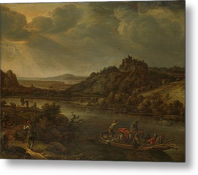 River View With Ferry, Herman Saftleven Metal Print