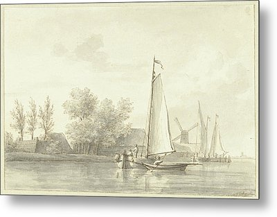 River View With Sailing And Rowing Boat, Martinus Schouman Metal Print
