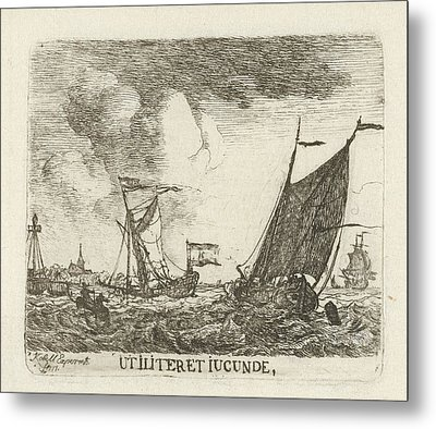 River View With Three Sailing On Rough Water Metal Print