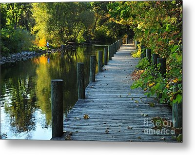 Metal Print featuring the photograph River Walk In Traverse City Michigan by Terri Gostola
