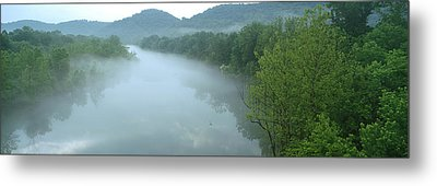 River With Mountains In The Background Metal Print by Panoramic Images