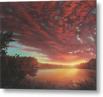 Riverbend Sunset Sky River Landscape Oil Painting American Yellow Pink Orange Metal Print by Walt Curlee