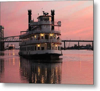 Riverboat At Sunset Metal Print by Cynthia Guinn
