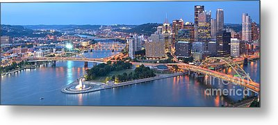 Rivers Bridges And Skyscrapers In Pittsburgh Metal Print by Adam Jewell
