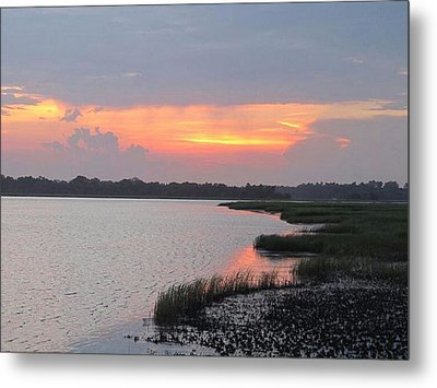 Metal Print featuring the photograph River's Edge Sunset by Joetta Beauford