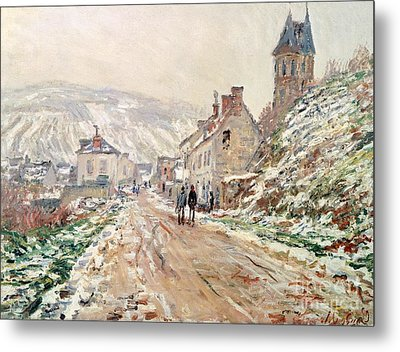 Road In Vetheuil In Winter Metal Print by Claude Monet