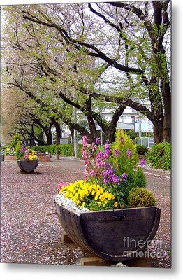Metal Print featuring the photograph Road Of Flowers by Andrea Anderegg