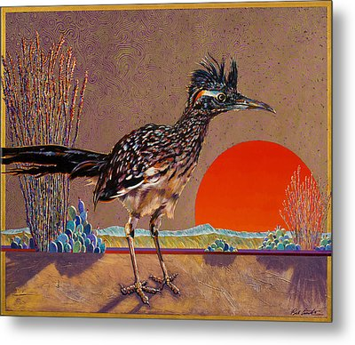 Road Runner At Sundown Metal Print by Bob Coonts