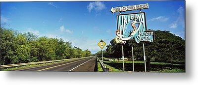 Road Sign At The Roadside, Haleiwa Metal Print by Panoramic Images
