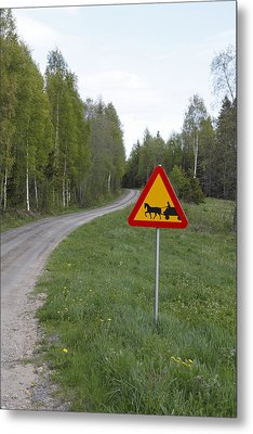Road Sign With Carriage Metal Print by Ulrich Kunst And Bettina Scheidulin