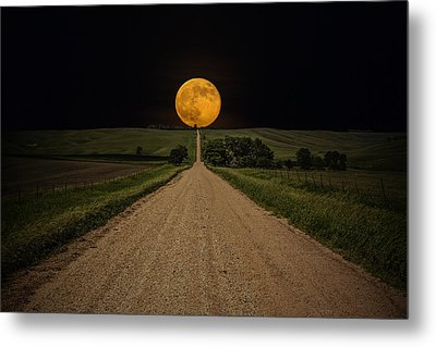 Road To Nowhere - Supermoon Metal Print