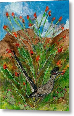 Roadrunner And Ocotillo Metal Print by Elaine Elliott