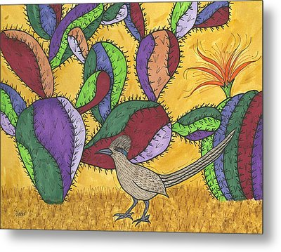 Roadrunner And Prickly Pear Cactus Metal Print