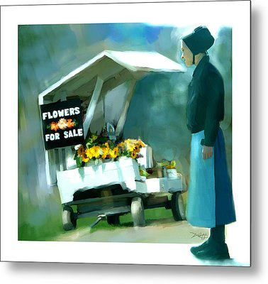 Metal Print featuring the painting Roadside Flower Stand Alternate Version by Bob Salo