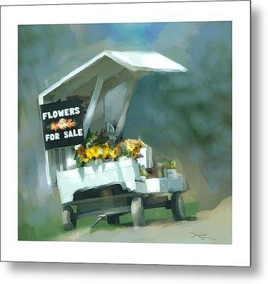 Metal Print featuring the painting Roadside Flower Stand by Bob Salo