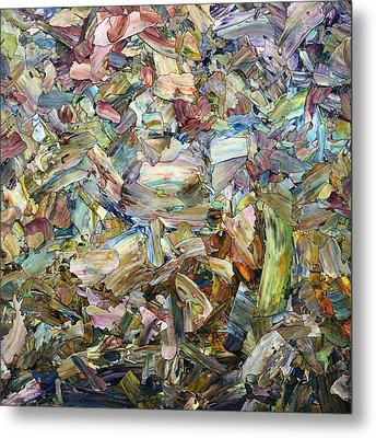 Metal Print featuring the painting Roadside Fragmentation - Square by James W Johnson