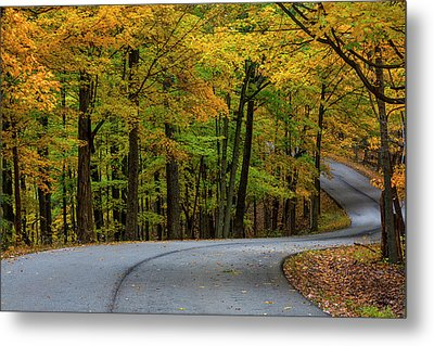 Roadway In Autumn In Brown County State Metal Print by Chuck Haney