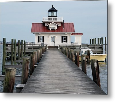 Metal Print featuring the digital art Roanoke Marshes Lighthouse by Kelvin Booker