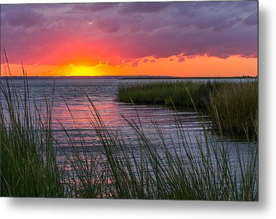 Roanoke Sound Sunset Metal Print