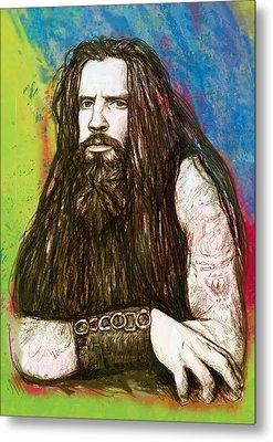 Rob Zombie Stylised Pop Art Drawing Sketch Portrait Metal Print