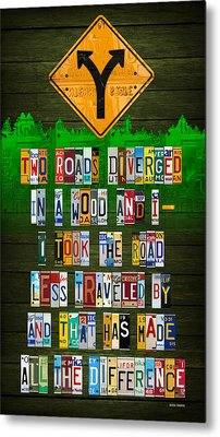 Robert Frost The Road Not Taken Poem Recycled License Plate Lettering Art Metal Print
