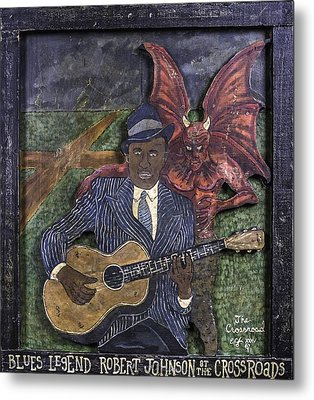 Robert Johnson At The Crossroads Metal Print