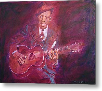 Robert Johnson Metal Print by David Lloyd Glover