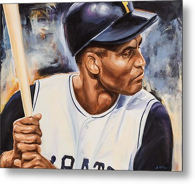 Roberto Clemente Metal Print by Angie Villegas