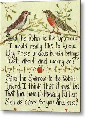 Robin And Sparrow Metal Print