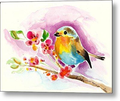 Robin In Flowers Metal Print by Tiberiu Soos