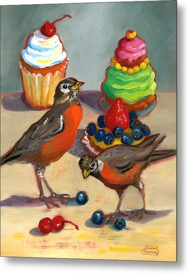 Robins And Desserts Metal Print by Susan Thomas