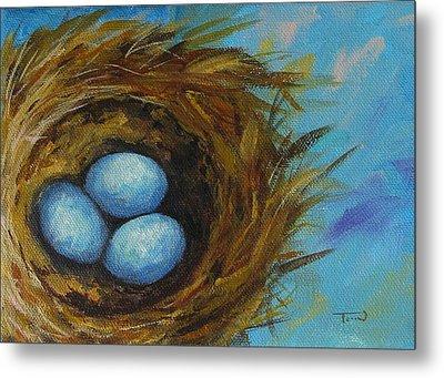 Robin's Three Eggs Viii Metal Print